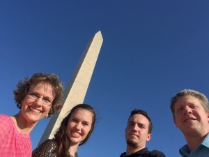 This is our family in front of the Washington Monument in Washington, DC.